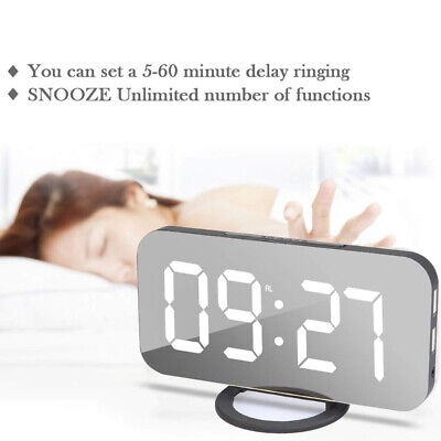 Digital Wecker Alarm Alarmwecker LED Tischuhr Praktisch Snooze Spiegel DE (Digitale Tischuhr)