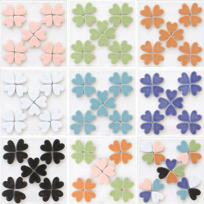50pcs Heart Shaped Ceramic Mosaic Tile Pieces For Arts DIY Hand Crafts 7 Colours