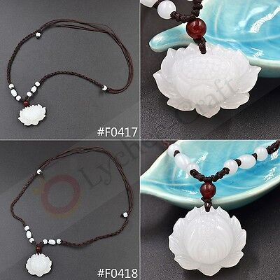 1 Pc Hand Carved Natural White Jade Lotus Flower  Pendant Heian Woven