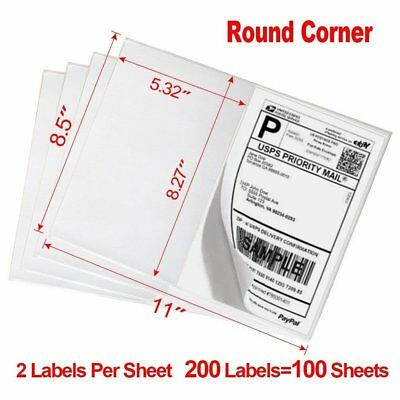 200 8.5x5.5 Round Corner Half Sheet Shipping Labels Self Adhesive Blank Labels