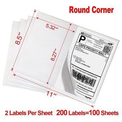 200 8.5x5.5 Round Corner Half Sheet Shipping Labels Self Adhesive Blank Labels