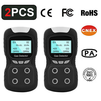 Portable Gas Detector 4-gas Monitor Meter Tester Gas Clip Analyzer Rechargeable