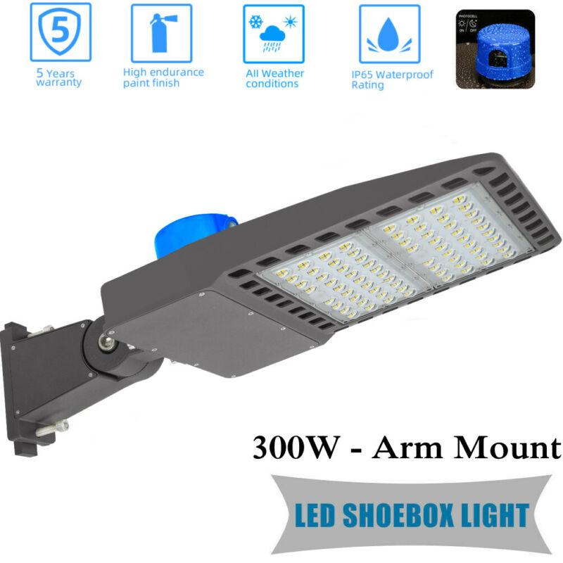 39000LM,LED Parking Lot Light 300W Shoebox Street Security Lighting Dusk to Dawn