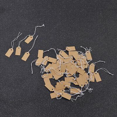 100pcs Blank Kraft Paper Blank Hang Tags Label Vintage Jewelry Pricing String Us