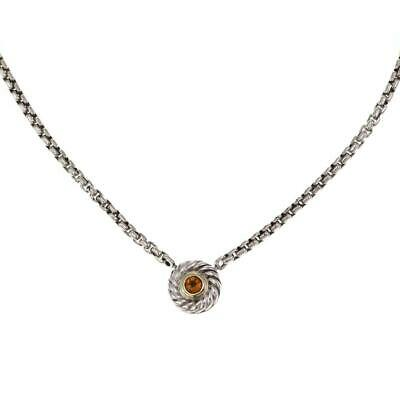 David Yurman Citrine Sterling 14k Yellow Gold Round Cable Pendant & Chain
