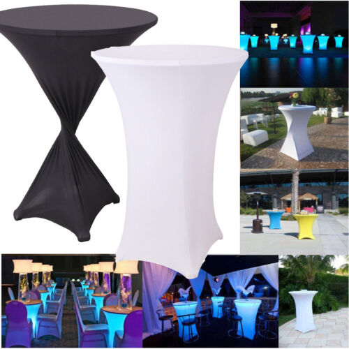 tall cocktail round folding stretch spandex table