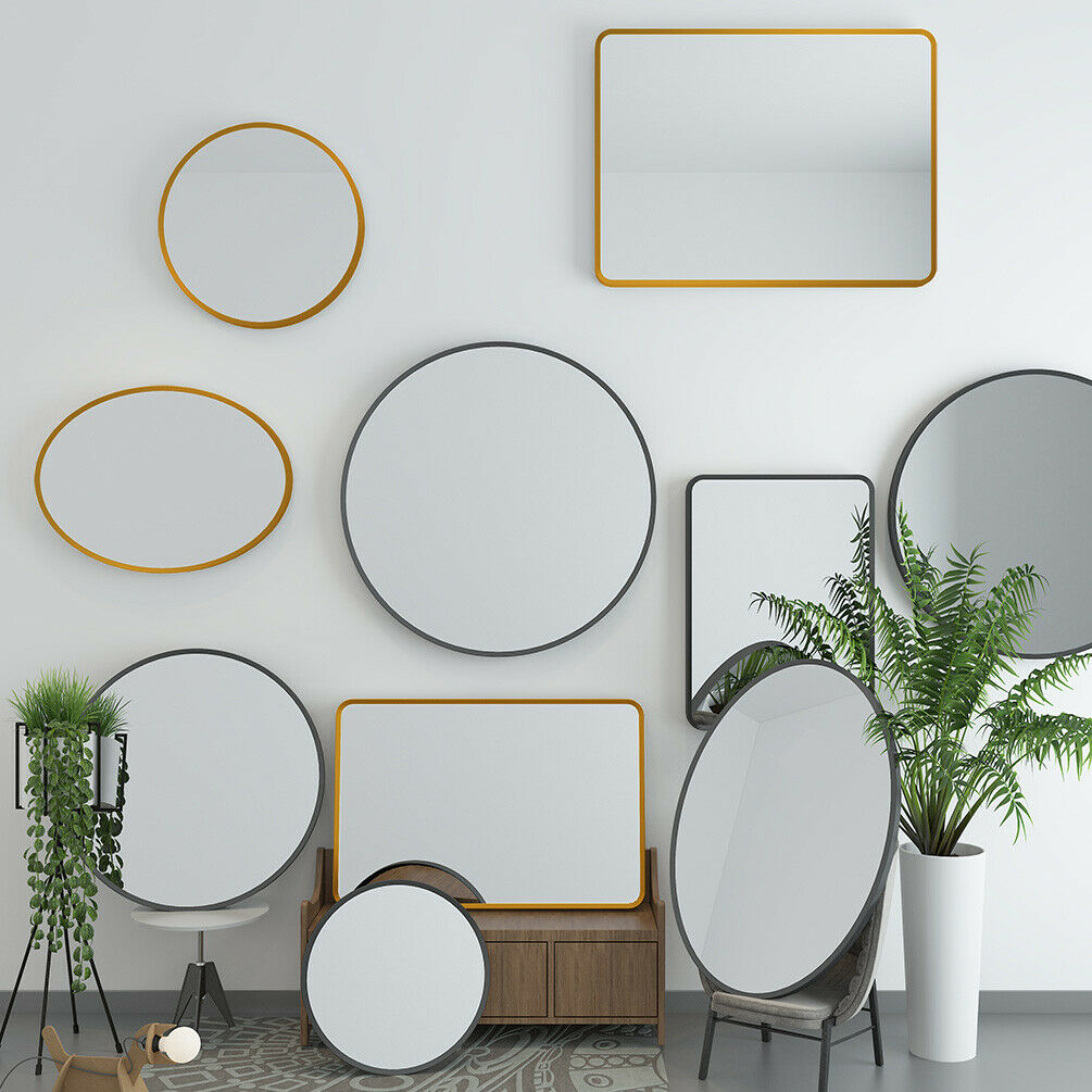 Bathroom Wallmounted Mirror Brushed Metal Beveled Frame Bedroom Livingroom