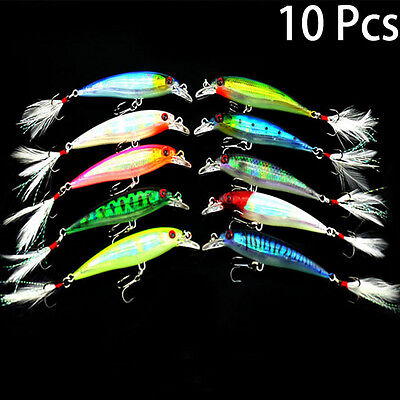 New Lot 10pcs Kinds of Fishing Lures Crankbaits Hooks Minnow Baits Tackle