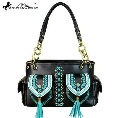 (Montana West Braided Trim Conchos Tassels Turquoise /Gold Stones Satchel Handbag)