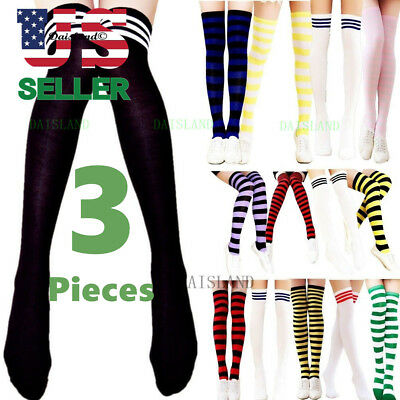 Thigh High Socks (3 Women's Striped Thigh High Socks Sheer Over The Knee Plus Size Stockings)