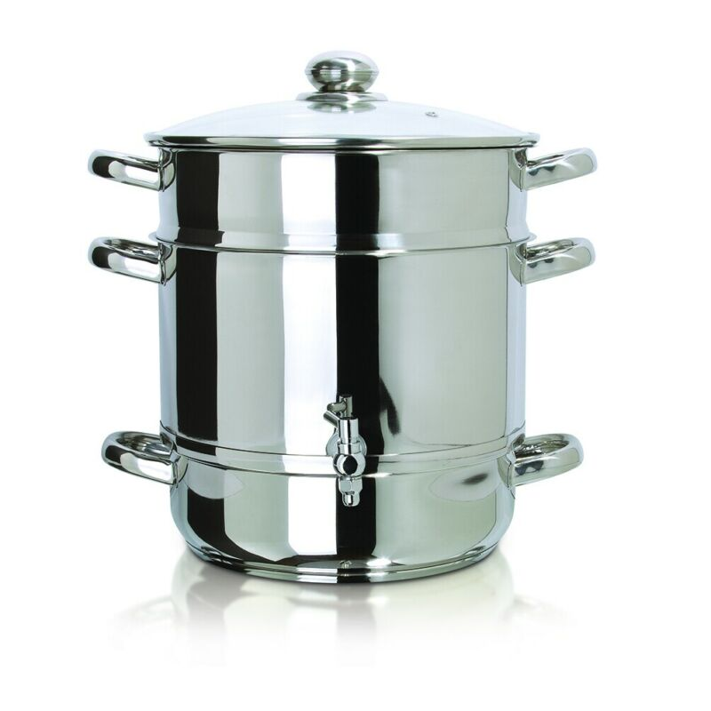 Euro Cuisine Stainless Steel Stove Top Steam Juicer Silver