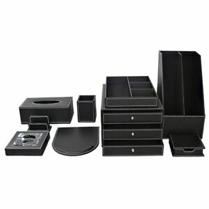 Set of 9pcs black leather cover wooden office desk decor - Black leather desk organizer ...