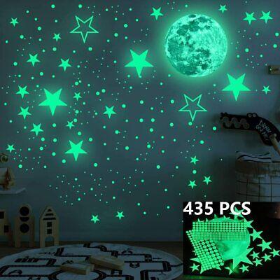 435X Glow In The Dark Luminous Stars Moon Wall Stickers Decal Kid Room Decor US