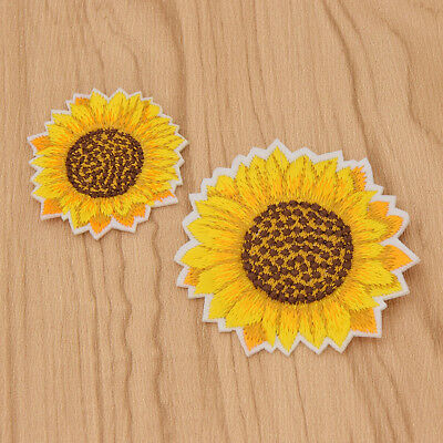 2x Embroidered Sunflower Iron On Patches DIY Sticker Clothes Badge Accessories