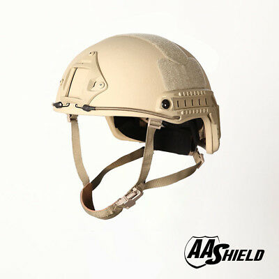 ad8ab315 AA Shield Tactical Ballistic Helmet High Cut Bullet Proof Lvl IIIA 3A Tan  L/XL