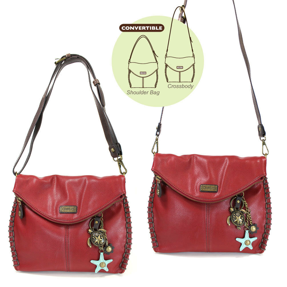 Chala Charming Crossbody Bag with Zipper Flap Top, Metal Cha