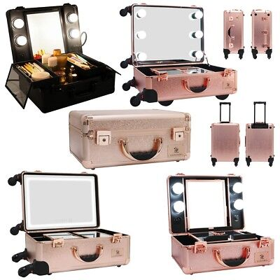 Professional Trolley Makeup Case w/ LED Mirror Large Storage Extendable Trays US