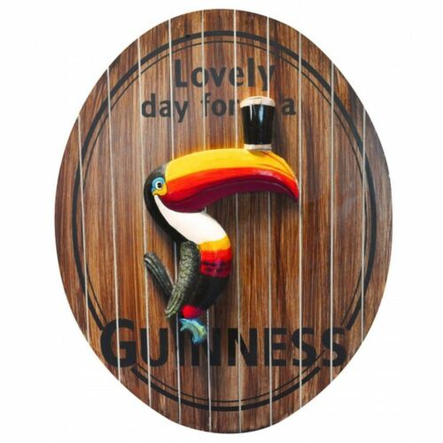"""Guinness Oval Toucan """"Lovely Day for a Guinness"""" 3D Wood Bar Pub Sign - New"""