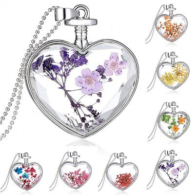 Love Heart Glass Locket Pendant Real Dried Pressed Flower Long Sweater Necklace