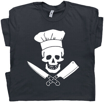 Chef T Shirt Skull Head Cooking Graphic Funny Saying Cool Apron BBQ Grilling Tee