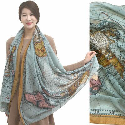 WORLD MAP PRINTed big scarf soft by KOREA CHIFFON Shawl wrap stole camelblue NEW