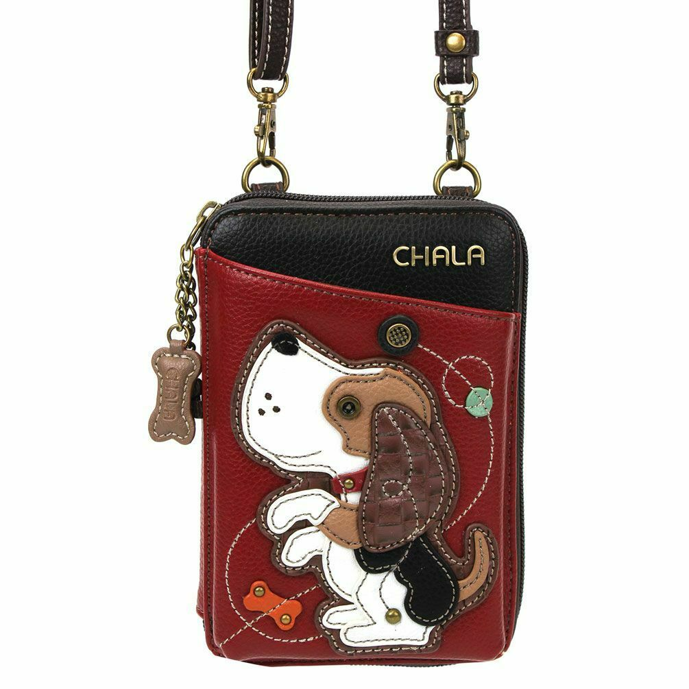 NEW CHALA BURGUNDY BEAGLE PUPPY DOG ZIPPERED CROSSBODY WALLE
