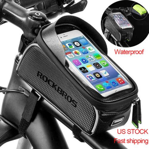 "ROCKBROS Cycling Bike Front Top Tube Frame Bag Waterproof Phone Holder Case 6.5"""