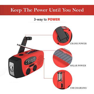 Notfall Solar Hand Kurbel AM/FM Wetter Radio LED Taschenlampe USB