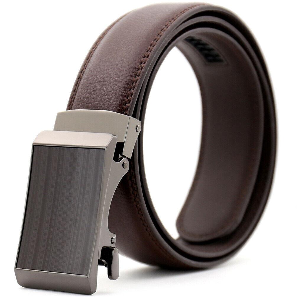Luxury Men/'s Real Leather Belt Automatic Buckle Ratchet Waist Strap Jeans Dress