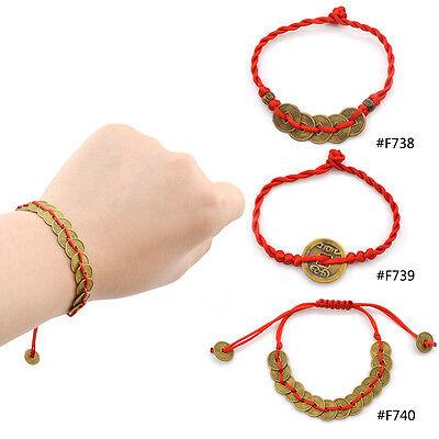 Fengshui Reichtum Erfolg Glückbringer Kupfer Münzen Chinesisch Schnur Armband (Chinesische Rote Schnur Armband)