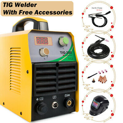 Tig Welder Dc Inverter 200a Argon Gas Welding Machine 110220v W Welding Helmet