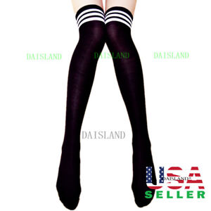 Women Sport Athletic Soccer Stripe Socks Over Knee Thigh High Cotton Stocking