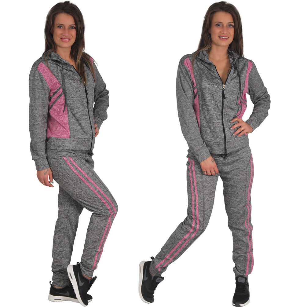 2tlg Damen Trainingsanzug Jogginganzug Kapuze Tops Hosen Sportanzug Hausanzug