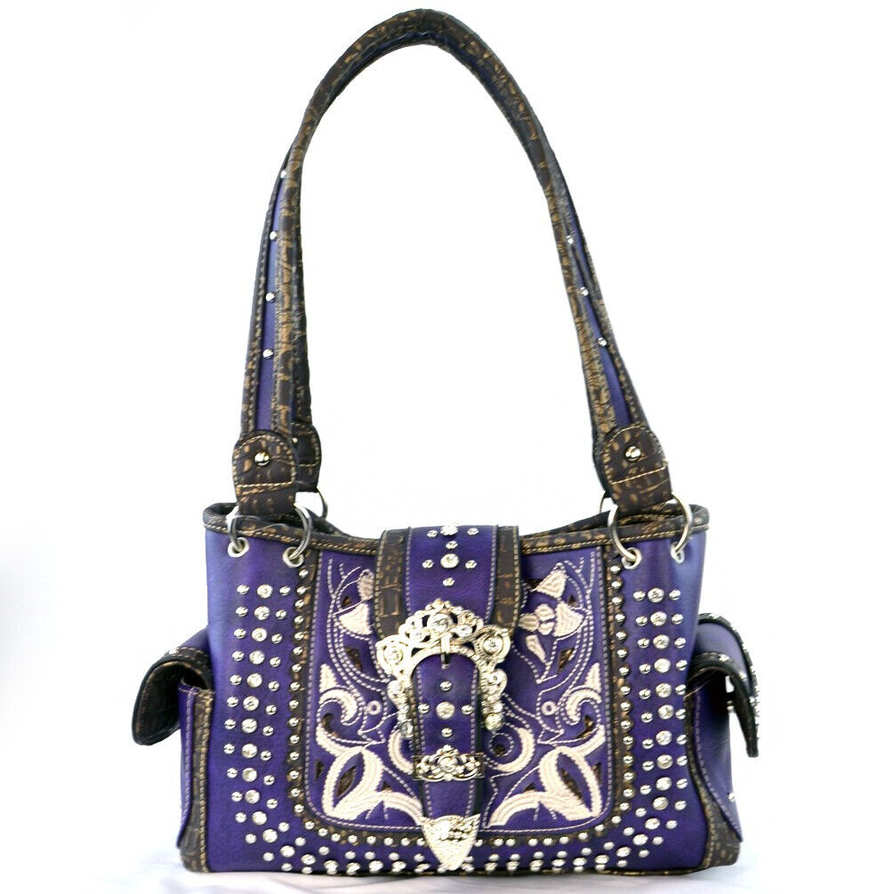 Concealed Carry Buckle Floral Embroidery Handbag Western Sho