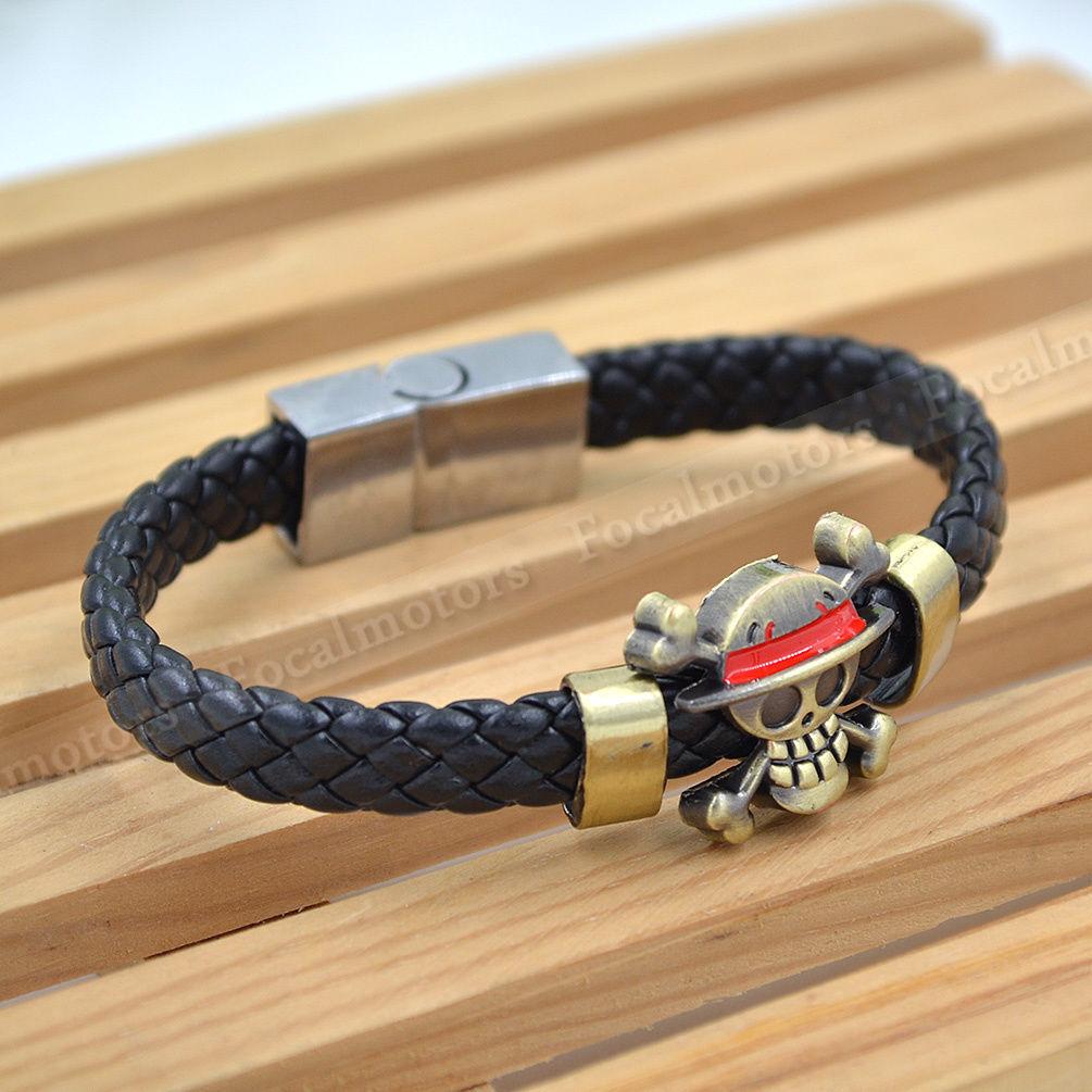 Anime One Piece Trafalgar Law Skull Bracelet Cosplay Wristband #2