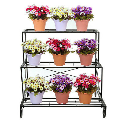Vintage 3TIER Metal Shelves Flower Pot Plant Stand Display Indoor Outdoor Garden