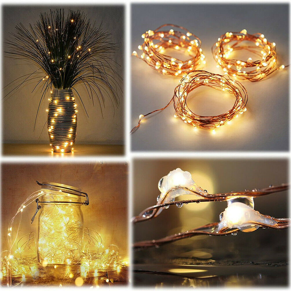 8pcs 20LED Battery Copper Wire String Fairy Light Warm White Wedding Party N4Q9