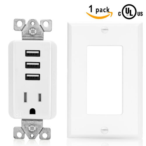 SenQ UL USB Outlet Multi Port Receptacle Charger Plug Wall Plate Sockets Outlets
