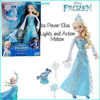 Disney Frozen Ice Power Elsa Doll Lights & Action Motion Figure Mattel