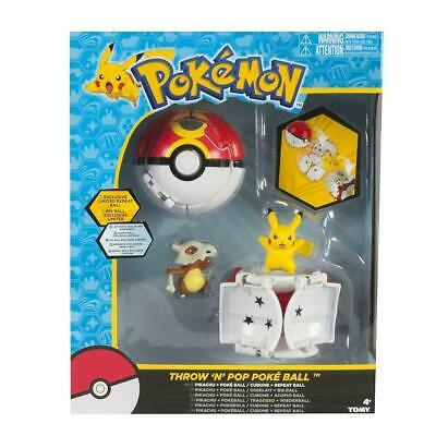 Pokemon Throw 'N' Pop Duel Pikachu Pokeball & Cubone Repeat Ball Figure Set Toy