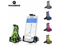 "(593) ROCKBROS BIKE PHONE HOLDER BICYCLE STAND MOUNTS FOR MOST MOBILES AND SAT NAVS; 3.5-7"" phones"