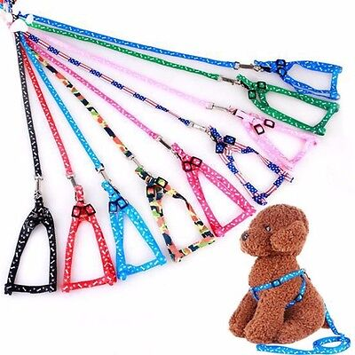 Cat Puppy Dog Harness and Leash Lead Set Traction Kit Adjustable Nylon