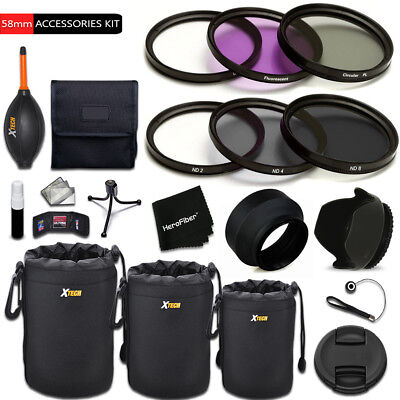 Xtech Kit for Canon EOS Rebel T6i - PRO 58mm Accessories KIT w/ Filters + MORE