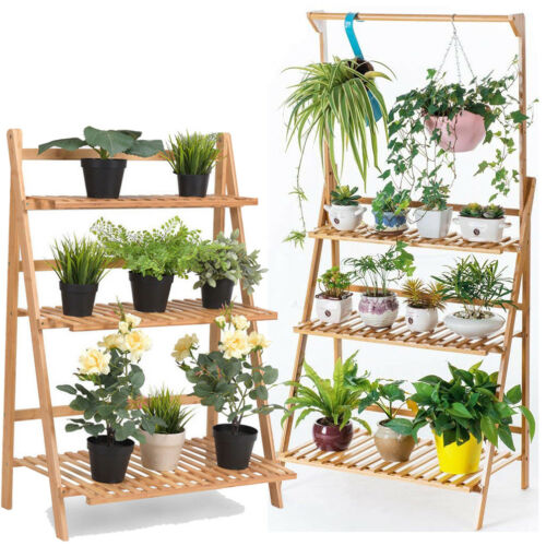 3-Tier Hanging Plant Stand Planter Shelves Flower Pot Organi