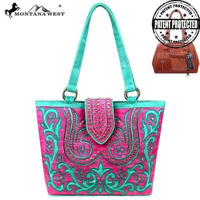 Montana West Floral Embroidered & Cutout Concealed Carry Handgun Tote Handbag - Floral Embroidered Tote