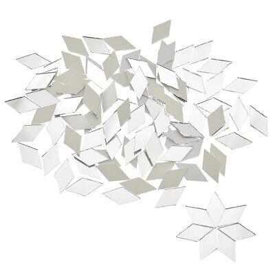 Craft Mirror Tiles (100 PCS Glass Mirror Mosaic Tiles Bulk Diamond Shape Decal Home Decor Crafts)