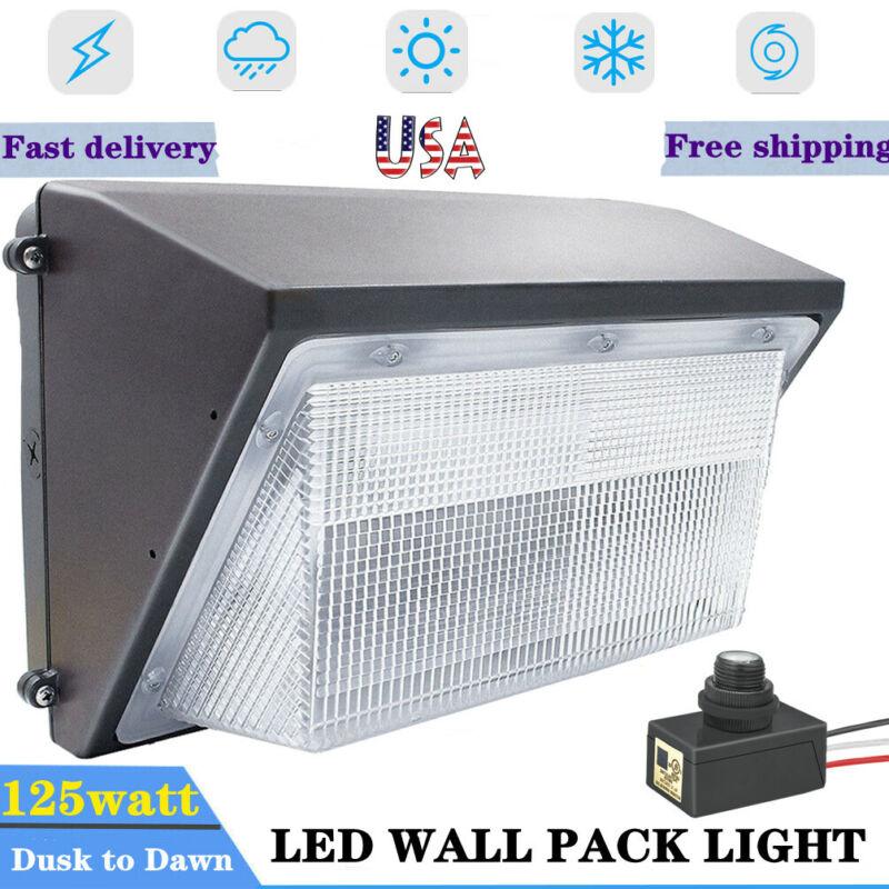 125W LED Wall Pack Light 5500k White IP65 Outdoor Lighting Dusk to Dawn w/Sensor