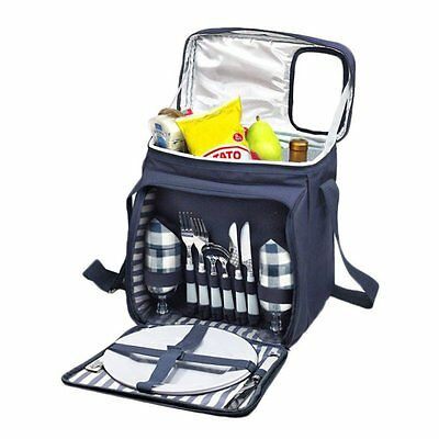 Insulated Picnic Basket Set - Lunch Tote Backpack Cooler w/ Utensils and Plates
