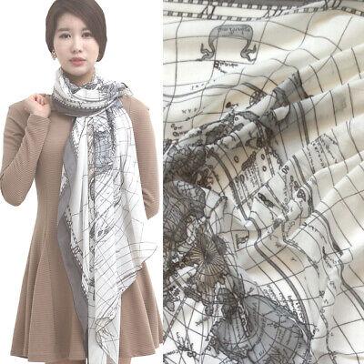 WORLD MAP PRINT scarf soft KOREAN CHIFFON Shawl wrap stole IVORY GREY NEW big