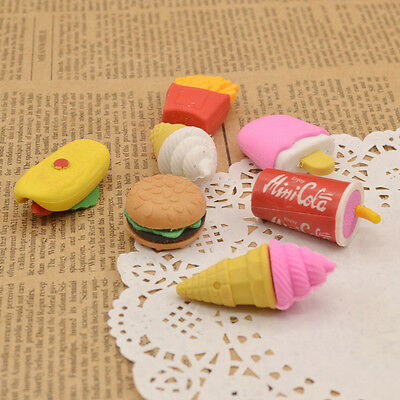 Funny Fast Food Rubber Eraser Cute Kids Student Stationery Gift Chips Cola - Food Erasers